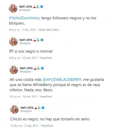 Nati Jota apologized for these tweets.