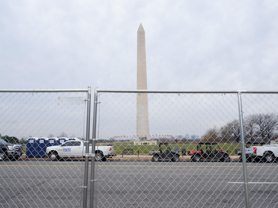The Washington monument, blocked by a fence.