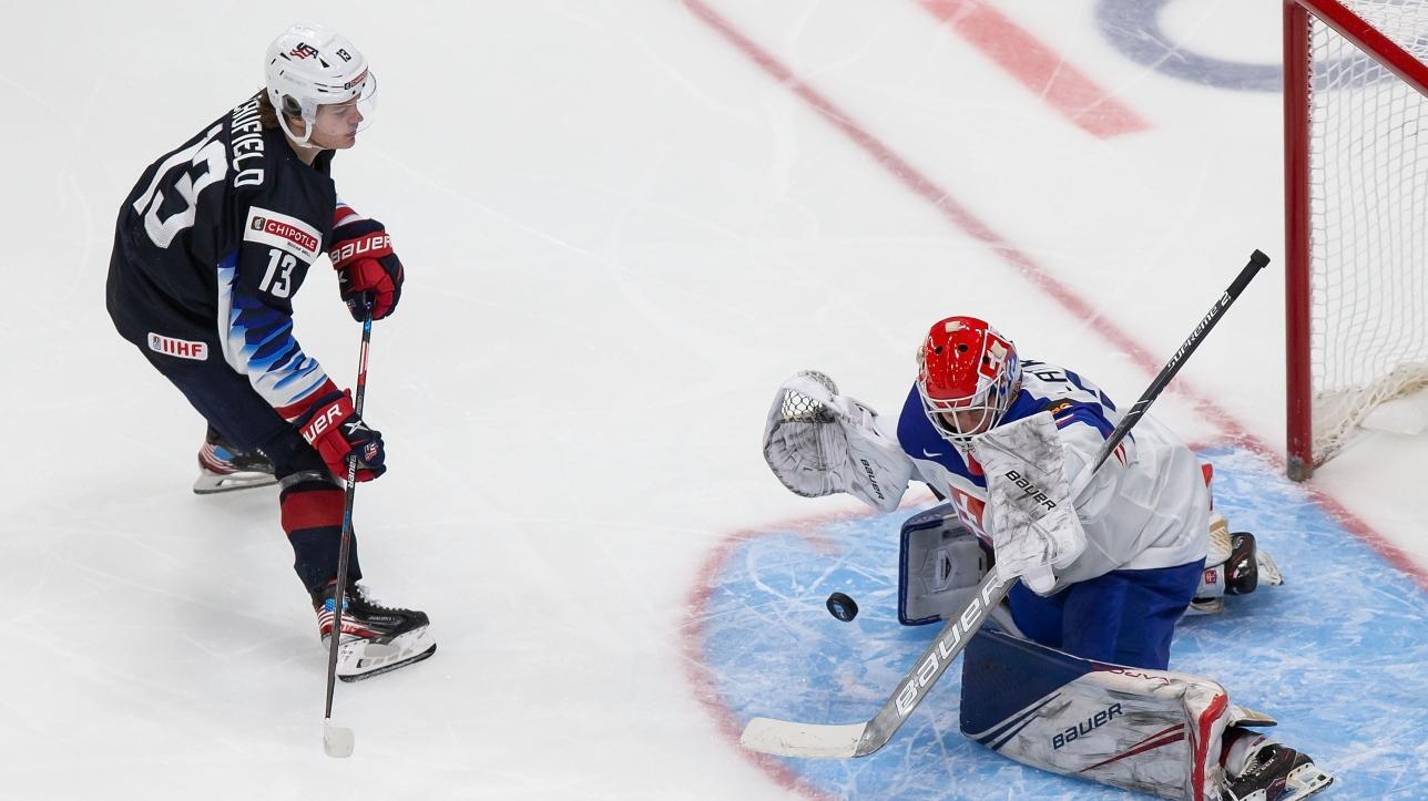 Farinacci, Knight lead United States past Slovakia in world juniors