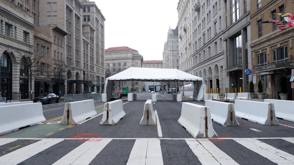 A checkpoint, located in downtown Washington.